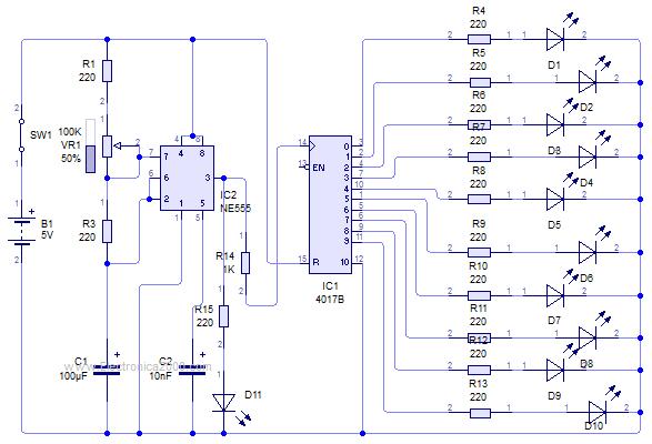 Diagrama Del Secuencial De 10 Leds Circuitos Impresos Circuito Circuito Electrónico