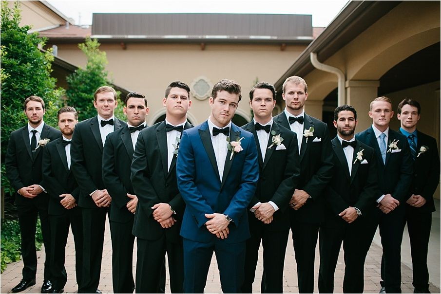 Groom wants black tux.. I want blue suits! | Navy tux, Black bow tie ...