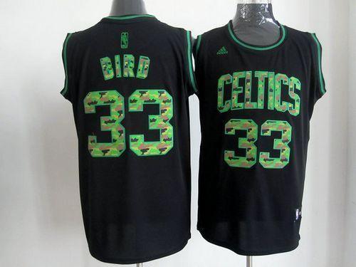 5afbca4a3 Celtics  33 Larry Bird Black Camo Fashion Stitched NBA Jersey