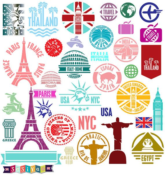 Instant download abstract stamp travel around the by for All inclusive around the world trip