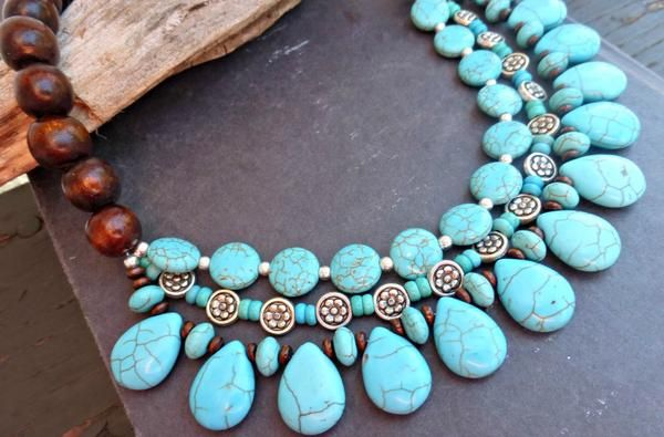 Turquoise stone, wood and silver metal beaded necklace. Bohemian handmade jewelry. -  - McKee Jewelry Designs - 5