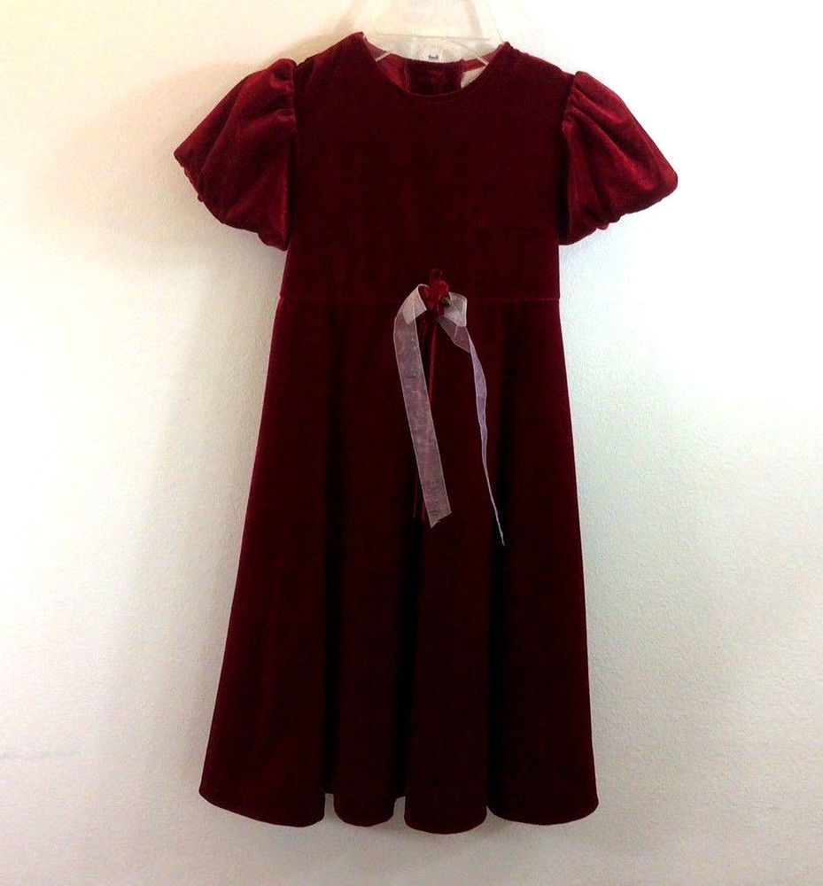 Rare additions girls red short sleeve velour dress holiday party