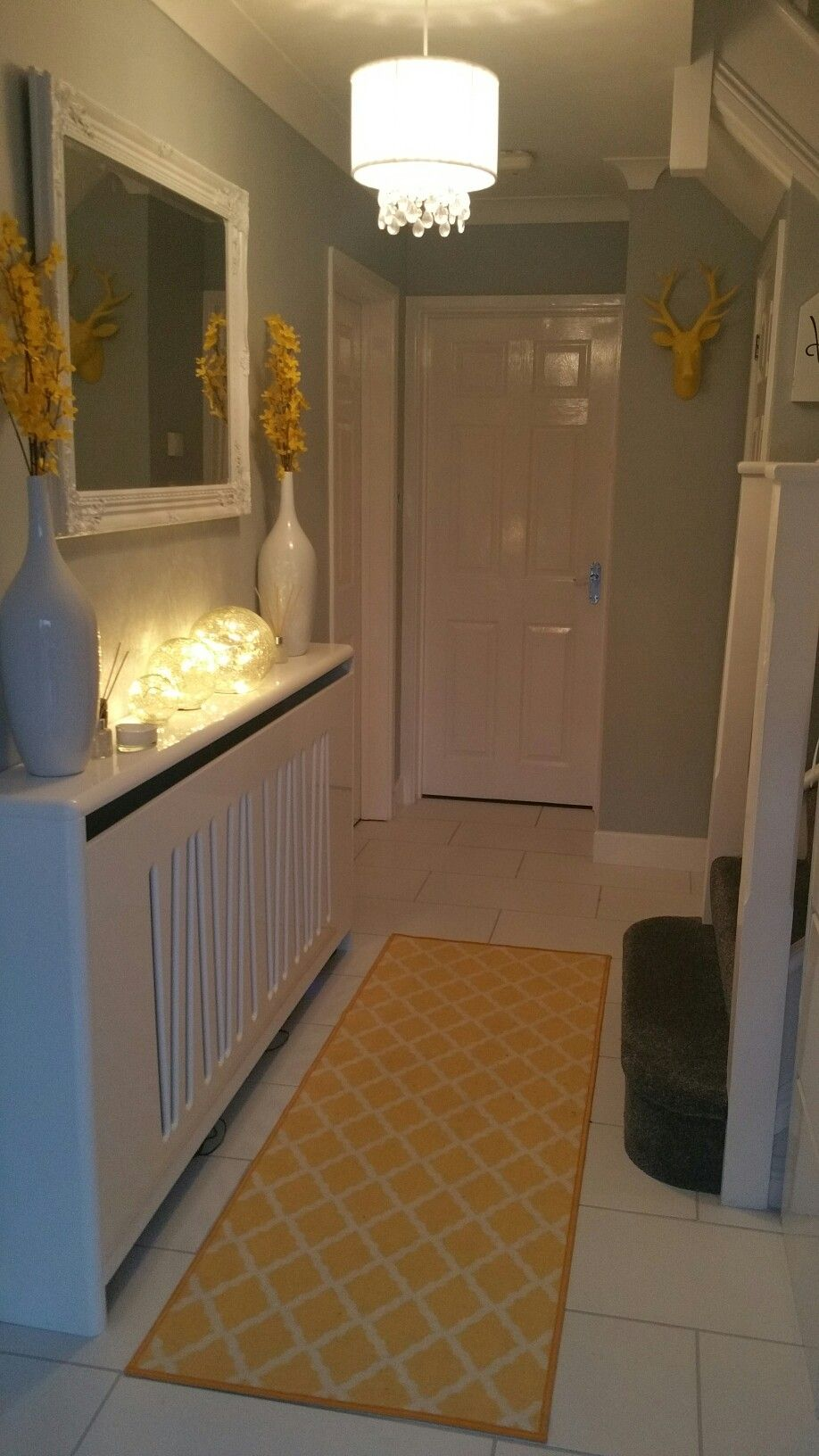love my finished result grey white and yellow hallway hallway
