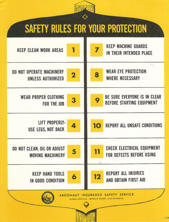 Vintage safety poster safety rules for your protection for 8 kitchen safety rules