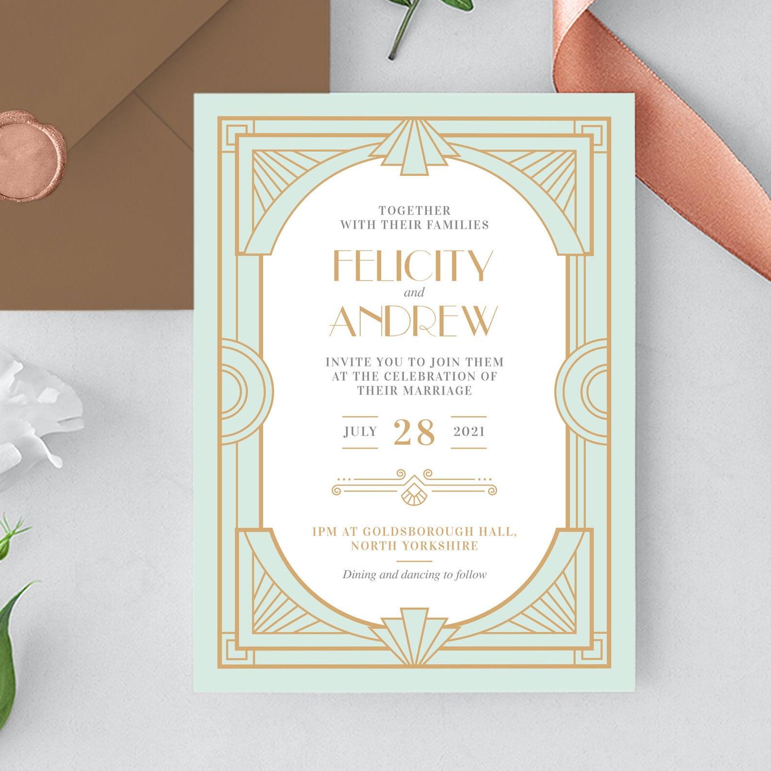 Vintage Wedding Invitation Roaring 20s Wedding Invitation Template Gatsby Deco Wedding Invitations Art Deco Wedding Invitations Vintage Wedding Invitations