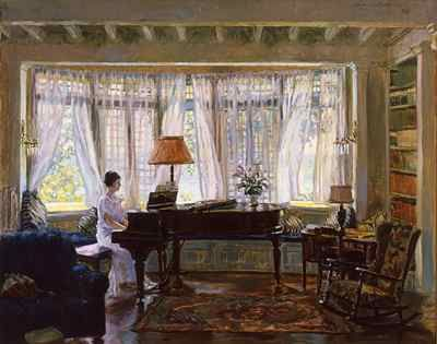 """Robert McGill Mackall, Georgetown, 1923, oil on canvas, 32 1/8 x 39 1/2"""") """"Primarily known for his work as a muralist and stained-glass maker, he also created paintings which summon the clear light of day into a peaceful interior setting. Bright light filtering through the trees permeates the room, resulting in a backdrop with just the feel of stained-glass lit by the direct rays of the sun.  The Morris Museum"""