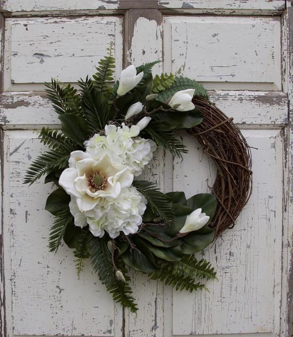 Photo of Magnolia Wreath, Hydrangea Wreath, Year Round Wreath, Spring Wreath, Summer Wreath, Door Wreath, Southern Wreath