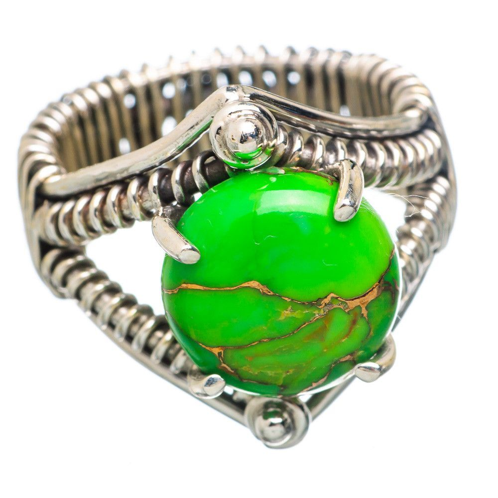 Green Copper Composite Turquoise 925 Sterling Silver Ring Size 7.5 RING784003