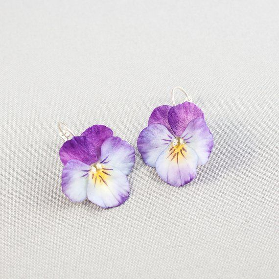 Pansy Earrings Realistic Flower Earrings Purple Pansy Floral Etsy Purple Pansy Cold Porcelain Flowers Flower Earrings