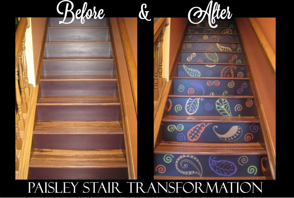 Amazing Paisley Stair Transformation - Trading Phrases shows you how to take your stairs from drab to fab in this blog. www.tradingphrases.com :)