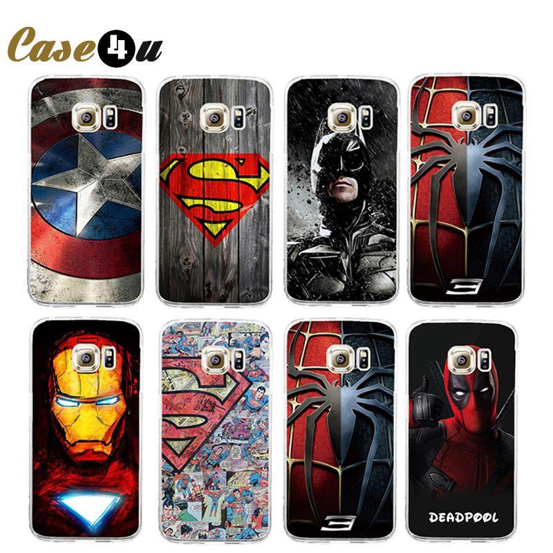 마블 어벤져 슈퍼 히어로 전화 case coque samsung galaxy s6 s7 s7 가장자리 하드 위로 전화 커버 데드 풀 아이언 batman 소매