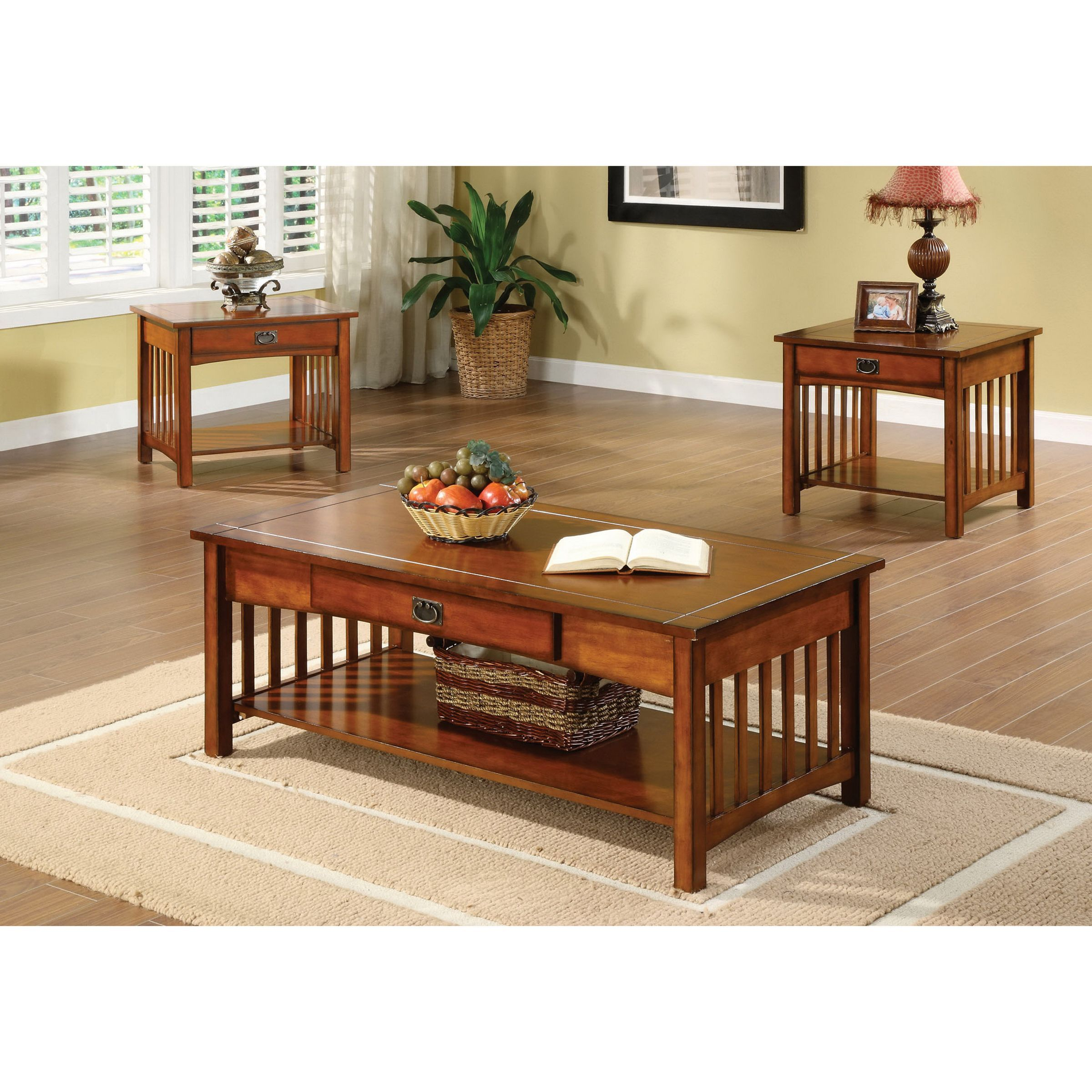 Coffee Console Sofa u0026 End Tables For Less  sc 1 st  Pinterest & Furniture of America Nash Mission Style 3-piece Antique Oak Finish ...