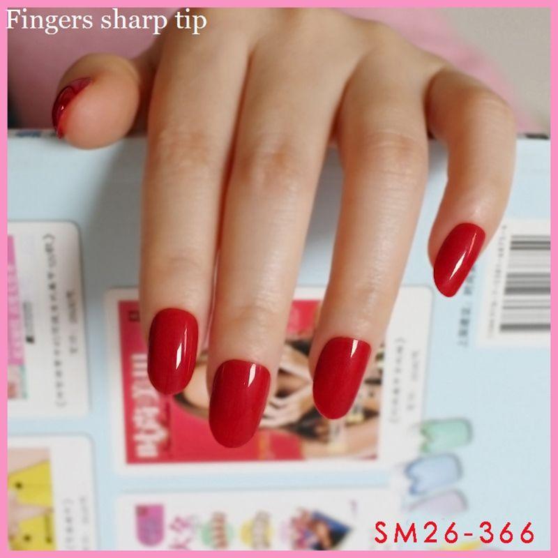 Beautiful glamorous Fake nails Solid color nail Full nail tips Red ...