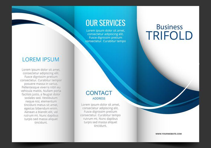Template Design Of Blue Wave Trifold Brochure My Digital - Template for tri fold brochure free