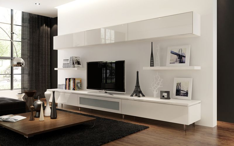 living room : beautiful wall mount shelf ideas with white gloss