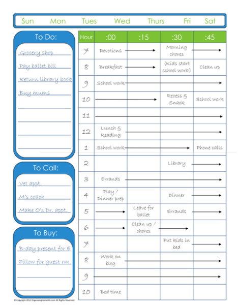 10 more free printable daily planners routine home management
