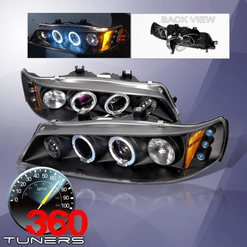 94 97 Honda Accord Halo Projector Headlights With Amber Reflector Pair Black Honda Accord Aftermarket Headlights Custom Headlights