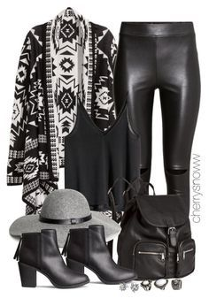 Black edgy boho chic fall outfit