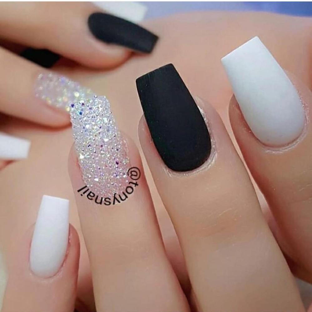 100 Spring Nail Art Designs For Women 2020 In 2020 White Coffin Nails White Acrylic Nails Coffin Nails Designs