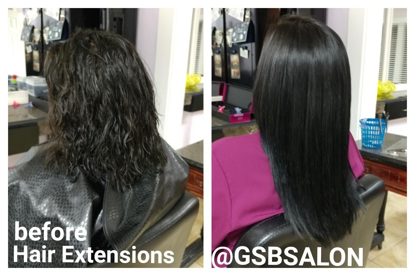 Before After Glam Seamless Tape In 14 Hair Extensions Tape In