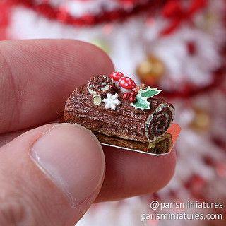 Traditional chocolate Yule log / bûche de noël www.parisminiatures.etsy.com