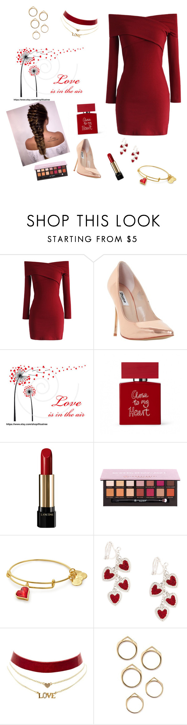 """""""Valentine's Date"""" by styles04 ❤ liked on Polyvore featuring Chicwish, Dune, Bella Freud, Lancôme and Charlotte Russe"""