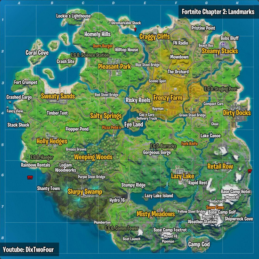 Fortnite Landmarks All Map Locations Visit Landmarks In Fortnite In A Single Match Fortnite Insider Fortnite Map Science Stations