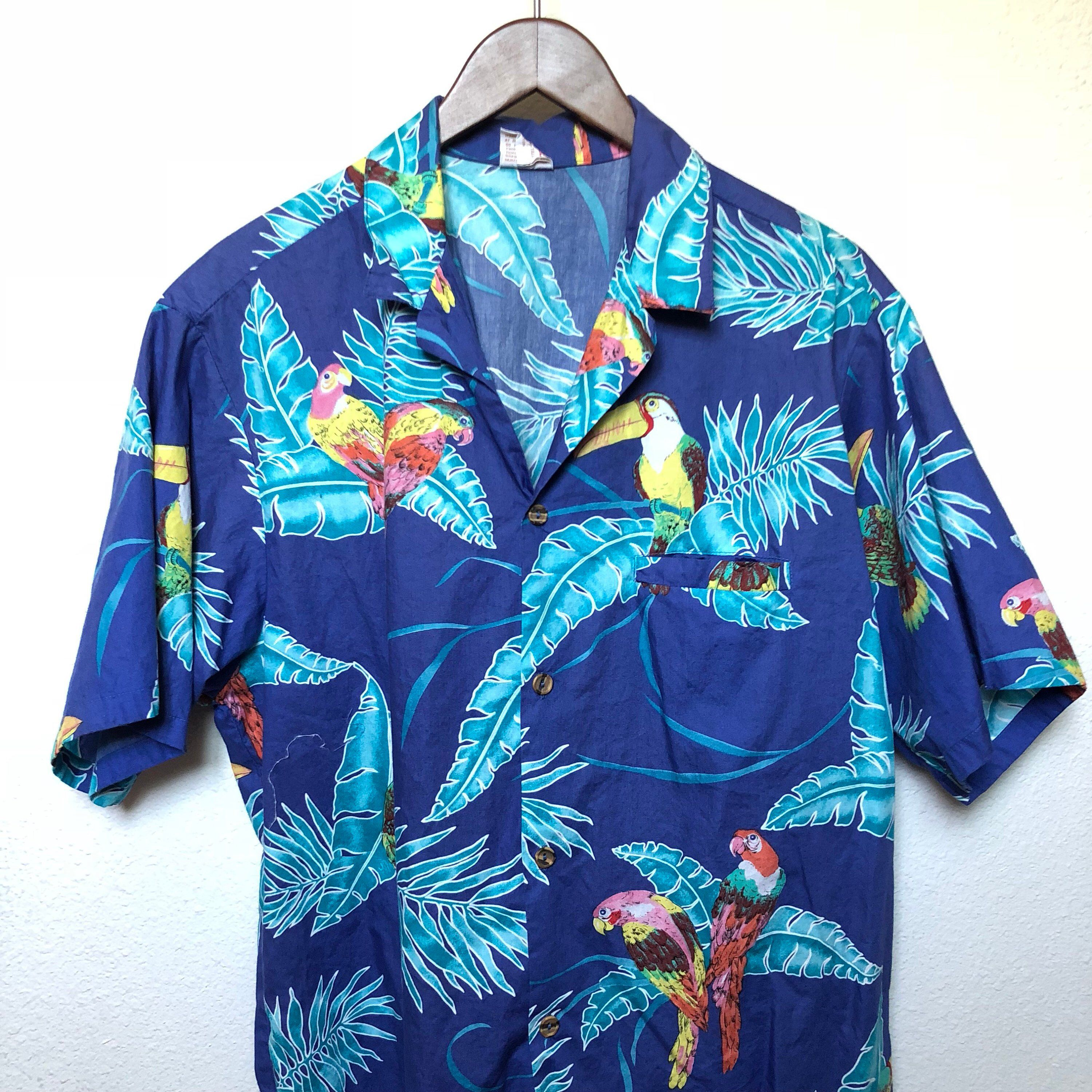 c5f765e1 ... #etsy shop: Vintage Hawaiian shirt parrot print toucan tropical palm,  vtg Aloha shirt 70s 1970s, Tiki Oasis, 80s Hawaii 1980s, Barefoot in  Paradise XL