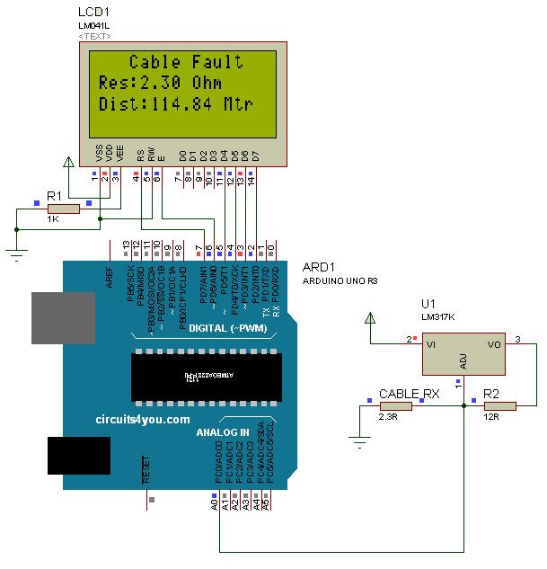 Underground Cable Fault Detection Circuit | Arduino | Pinterest ...