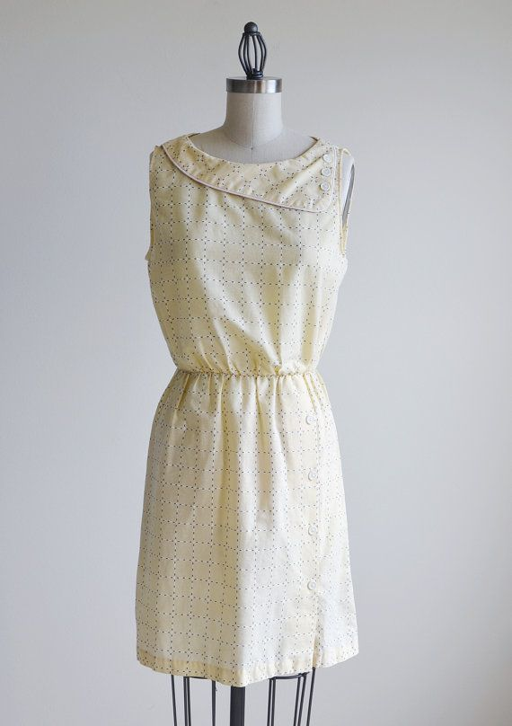 Vintage light yellow sleeveless dress with by thetailorsstories, $47.00