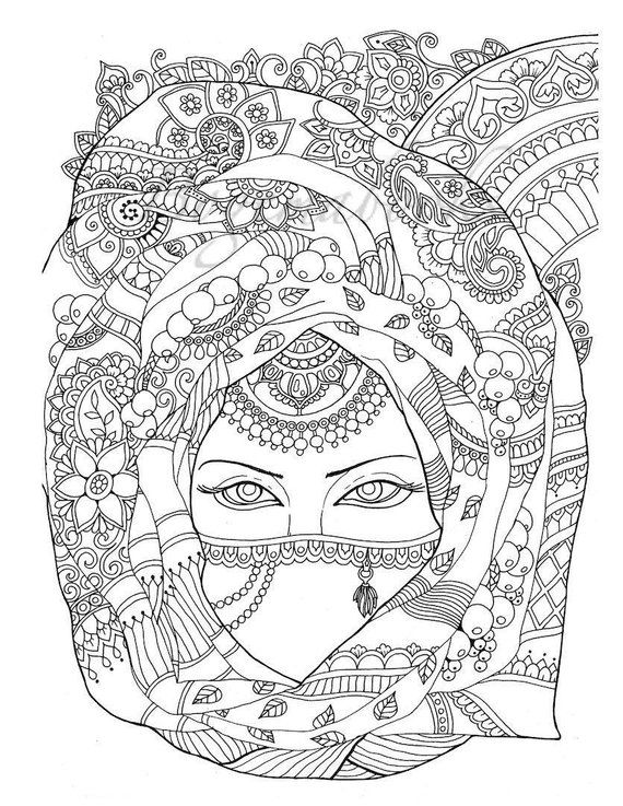 Cute Girs Adult Coloring Pages Digital Coloring Pages Printable