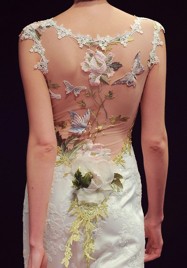 Wedding gown with lace butterflies and flowers claire for Flower embroidered wedding dress