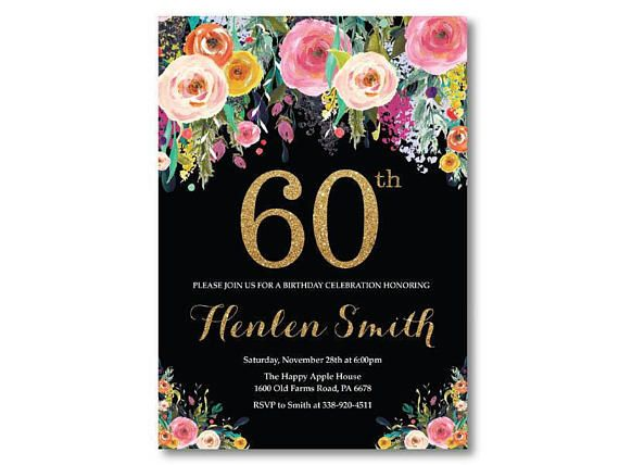 70th Birthday Invitation For Women Floral Black And Gold Glitter 40th 50th 60