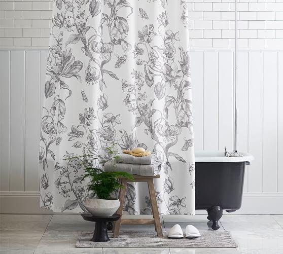Pippa Print Shower Curtain Pottery Barn Gray Shower