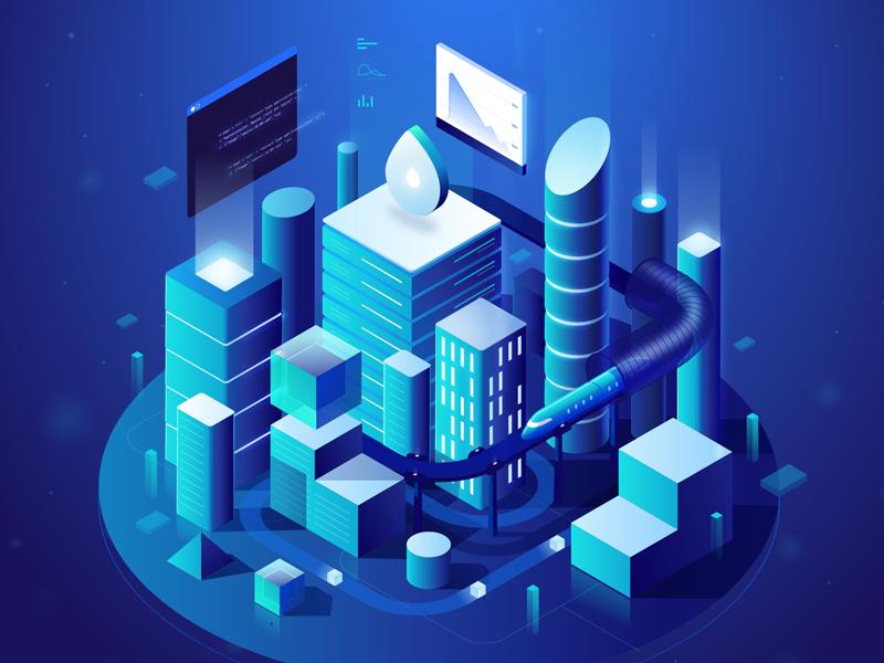 Futuristic City for DigitalOcean | Futuristic city, Isometric design,  Isometric illustration