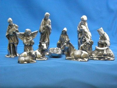 "Pewter Nativity Set, 11 pieces, 5.5"" tall"
