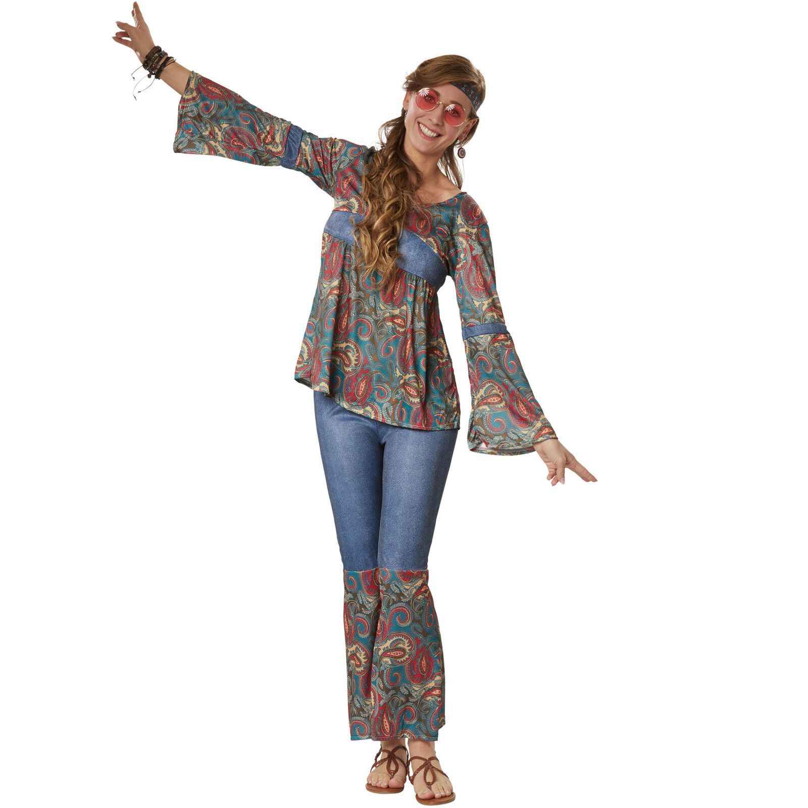 Top Damen Hippie Retro Kostüm 60er 70er Jahre Pop Disco: Kostüm Damen Hippie Boho Girl 60er 70er Flower
