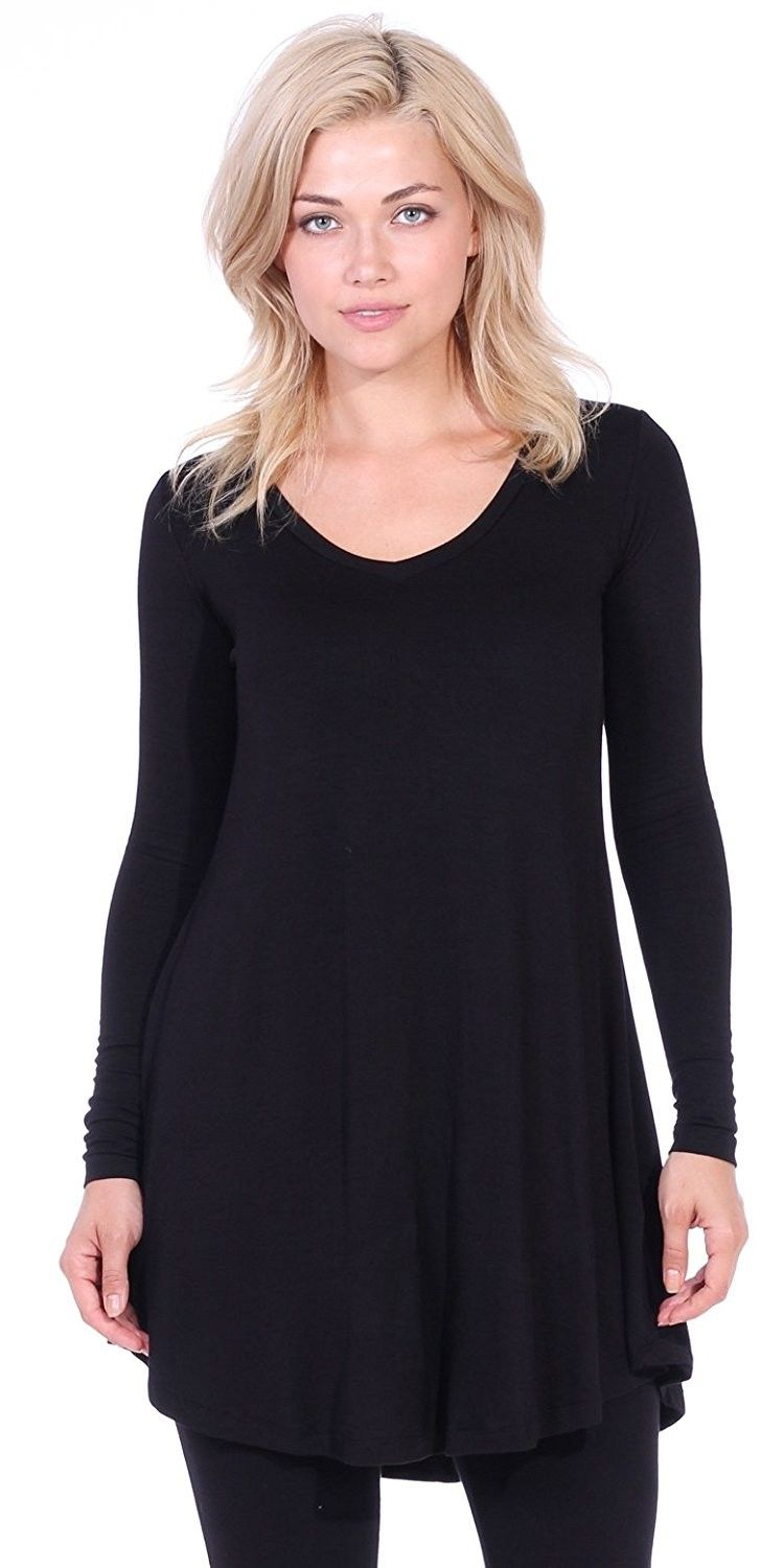 9faa7342b1b537 Women's Clothing, Tops & Tees, Tunics, Women's Tunic Tops For Leggings - Long  Sleeve Vneck Shirt - Regular and Plus Size - Made in USA - Black -  C8127Q4EKEV ...