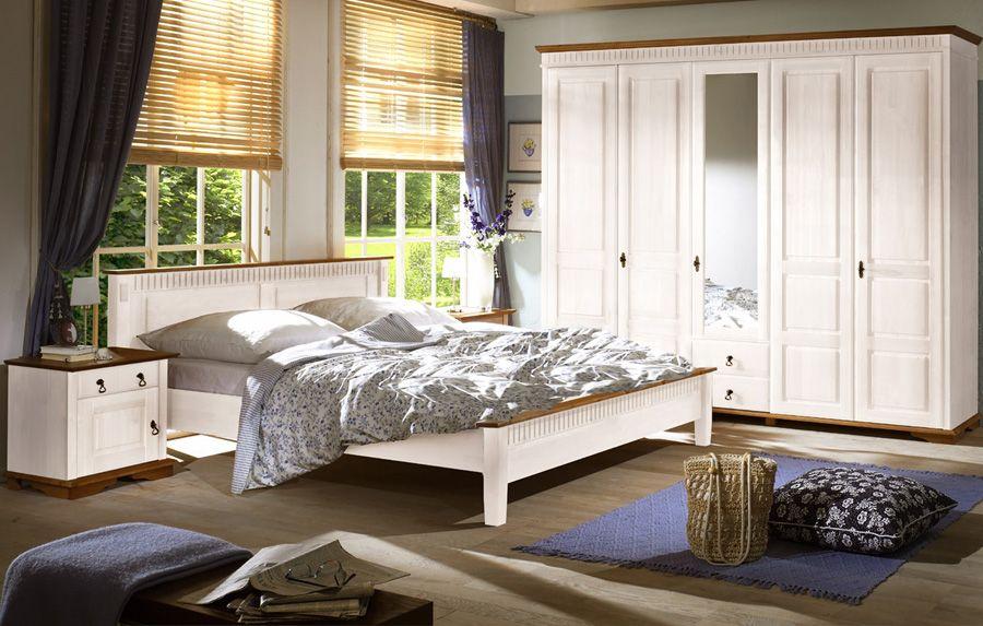 Schlafzimmer Valencia II Kiefer massiv weiß - Honig Landhausstil - schlafzimmer massiv komplett