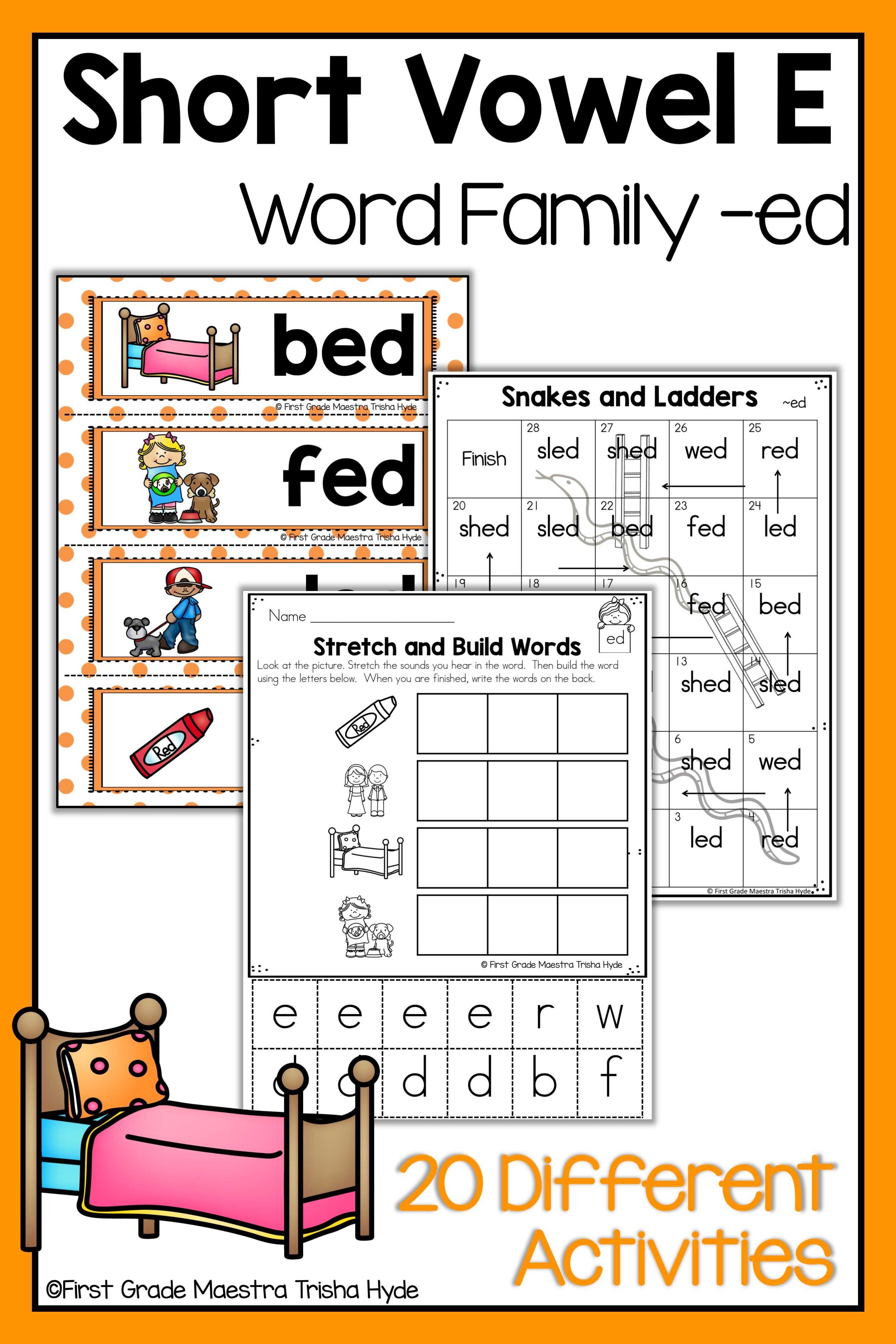 hight resolution of Short Vowel E Word Family ED   Word families