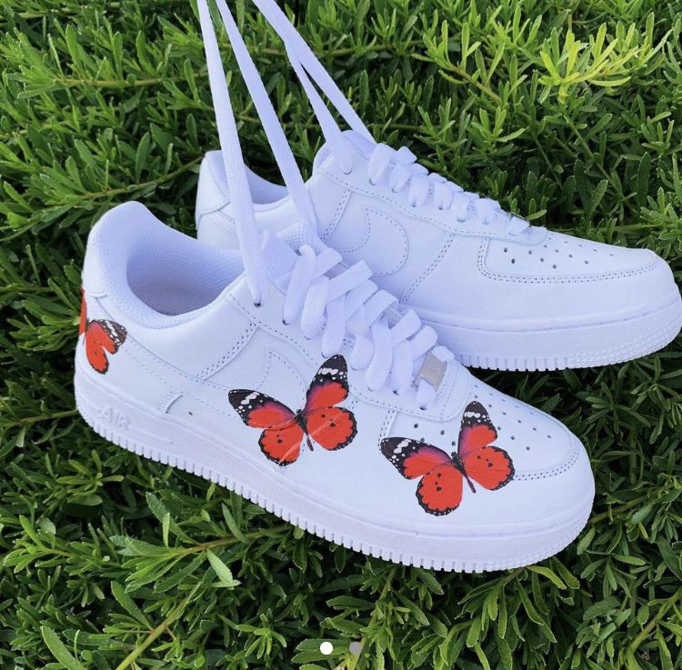 Beautiful Af1 red butterfly shoes in 2020 Butterfly