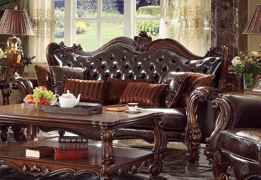 Versailles Victorian Formal Dark Brown Faux Leather Sofa With