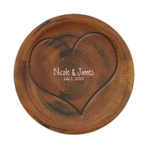 Wood Tree Stump With Carved Heart Rustic Wedding Paper Plate ...