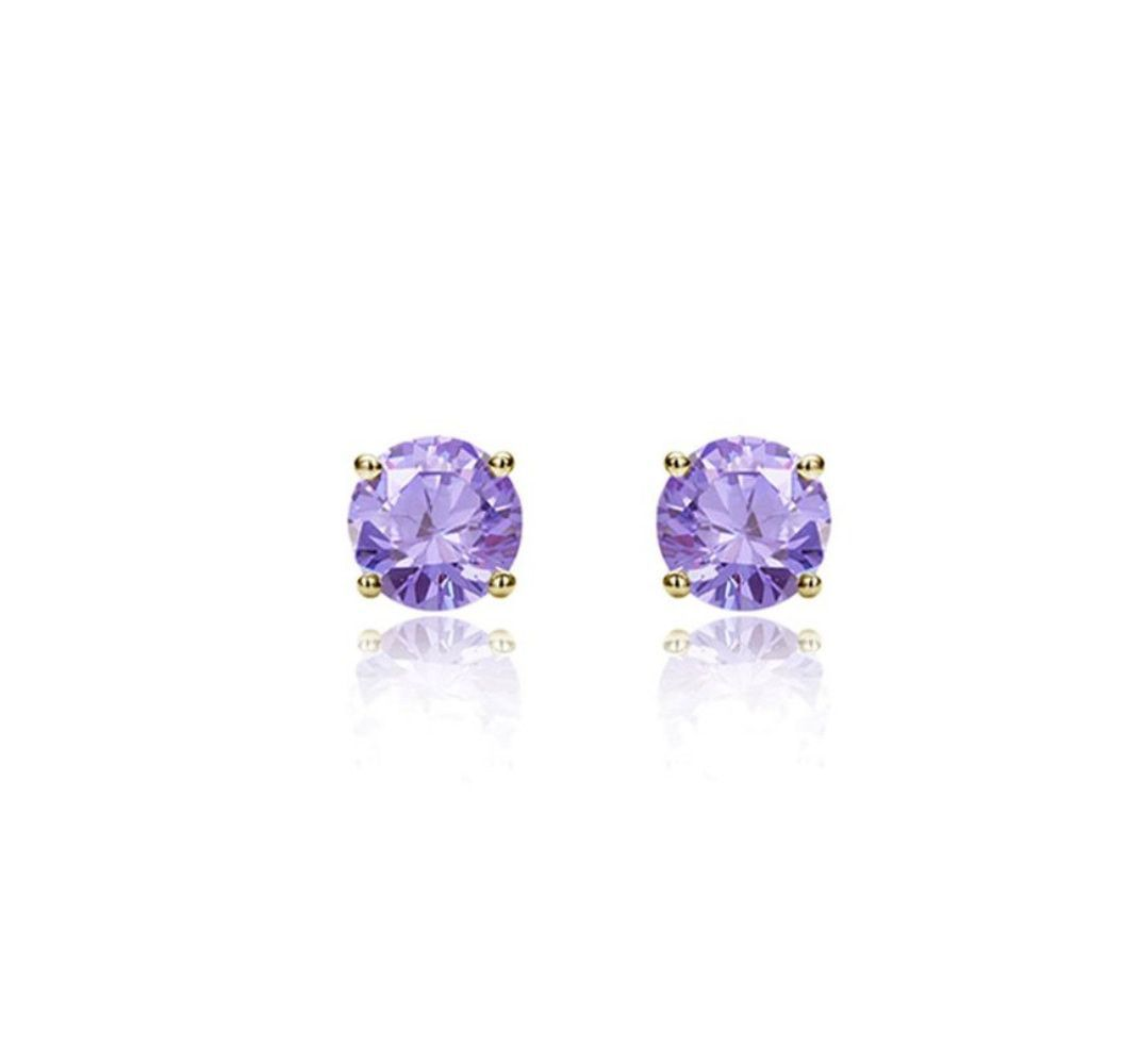 3mm 4mm 5mm Pair of Round Lavender CZ Solid 14K Yellow Gold Solitaire Stud Post Earring Basket June Stone Screw Back
