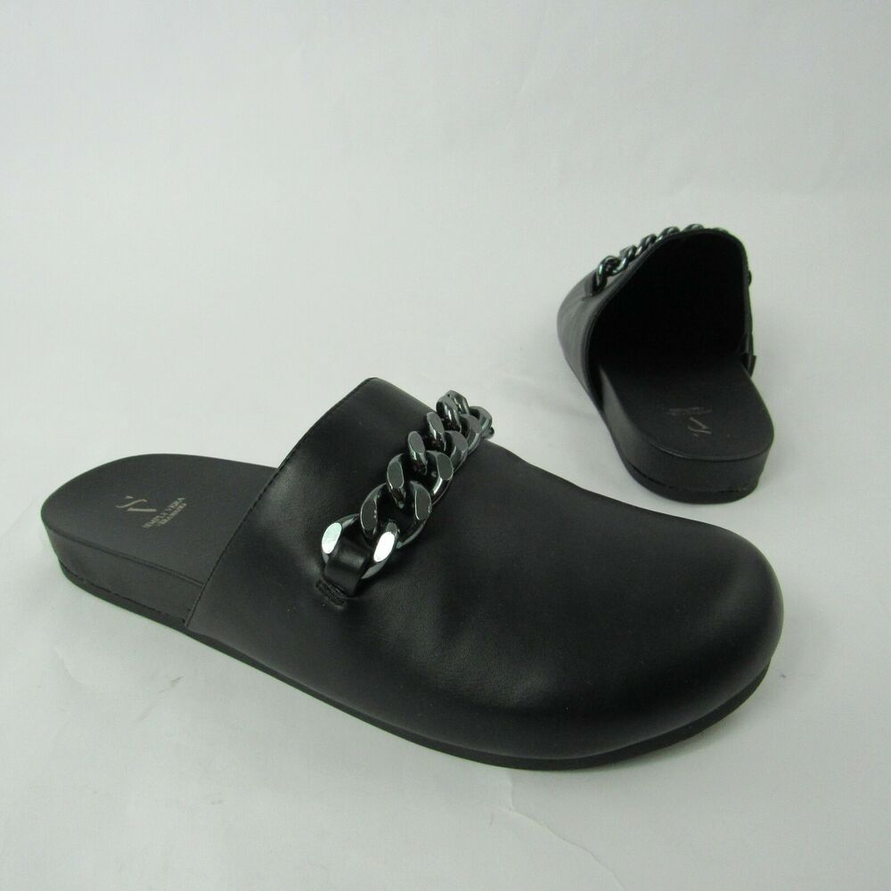 Women/'s Black leather mules 8.5 Tall heel clog dress shoes sz 8.5