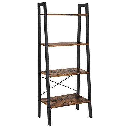 Ladder Shelf Vintage Industrial Look 4 Tier Wooden Ladder Shelf