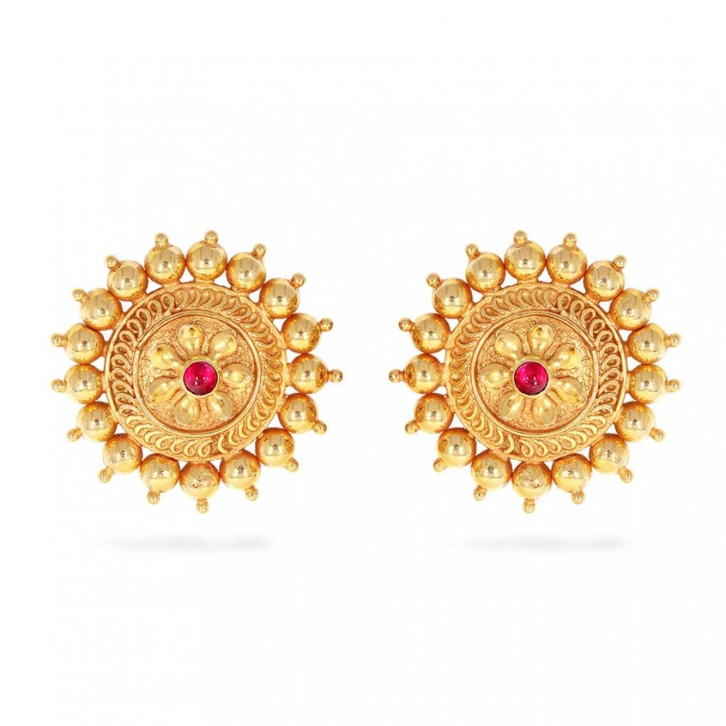 Round Kemp Yellow Gold 22k Rebha Nimah Earrings Candere