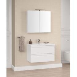 Photo of Badezimmermöbel – Set J Bikaner, 2-teilig inkl. Waschtisch / Waschbecken, Farbe: Weiß glänzend Easy