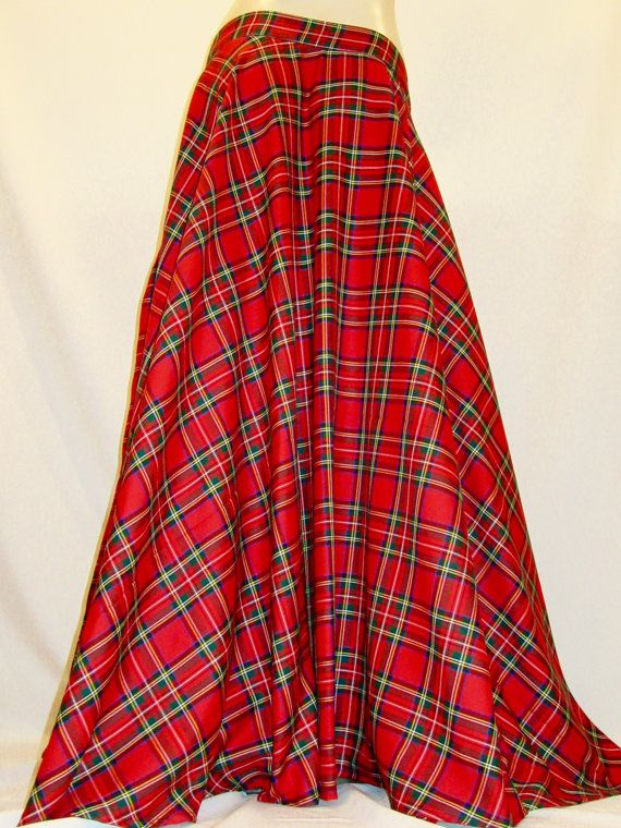 382e55f52b Red Plaid Floor Length Full Circle Skirt~Red Royal Stewart Side ...