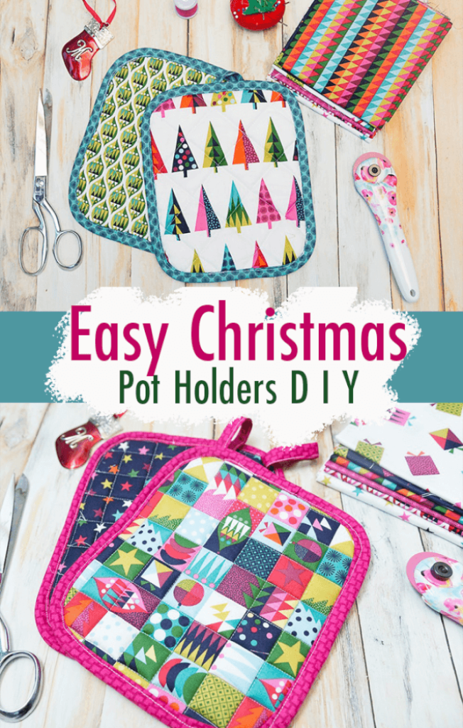 Quilted Christmas Pot Holders - An Easy Last-Minute Gift To Sew - Coral +…